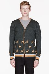 White Mountaineering Green and Orange Knit Reindeer Patterned Cardigan - Lyst