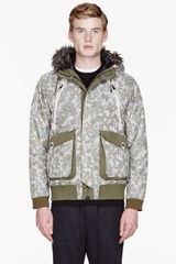 White Mountaineering Khaki and Grey Fur_trimmed Camouflage Jacket - Lyst
