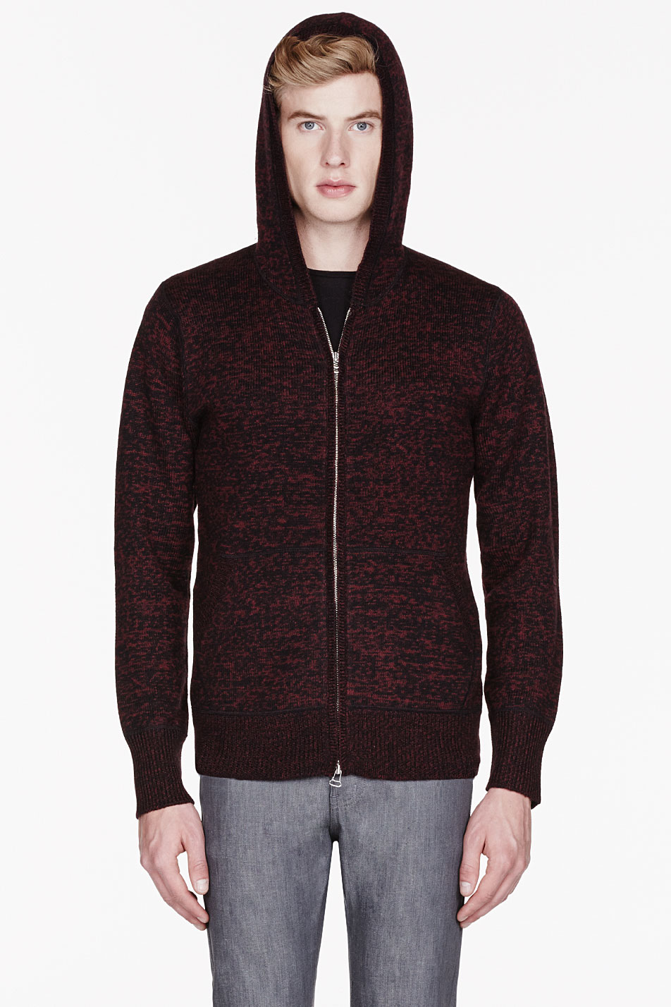 Wings   horns Red Merino Marled Hooded Sweater in Red for Men | Lyst