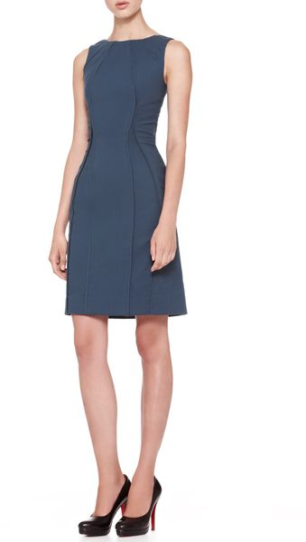 Zac Posen Sleeveless Vertical Piped Sheath Dress Teal - Lyst