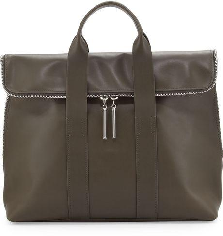 3.1 Phillip Lim 31hour Foldover Tote Bag Olive in Khaki (OLIVE)