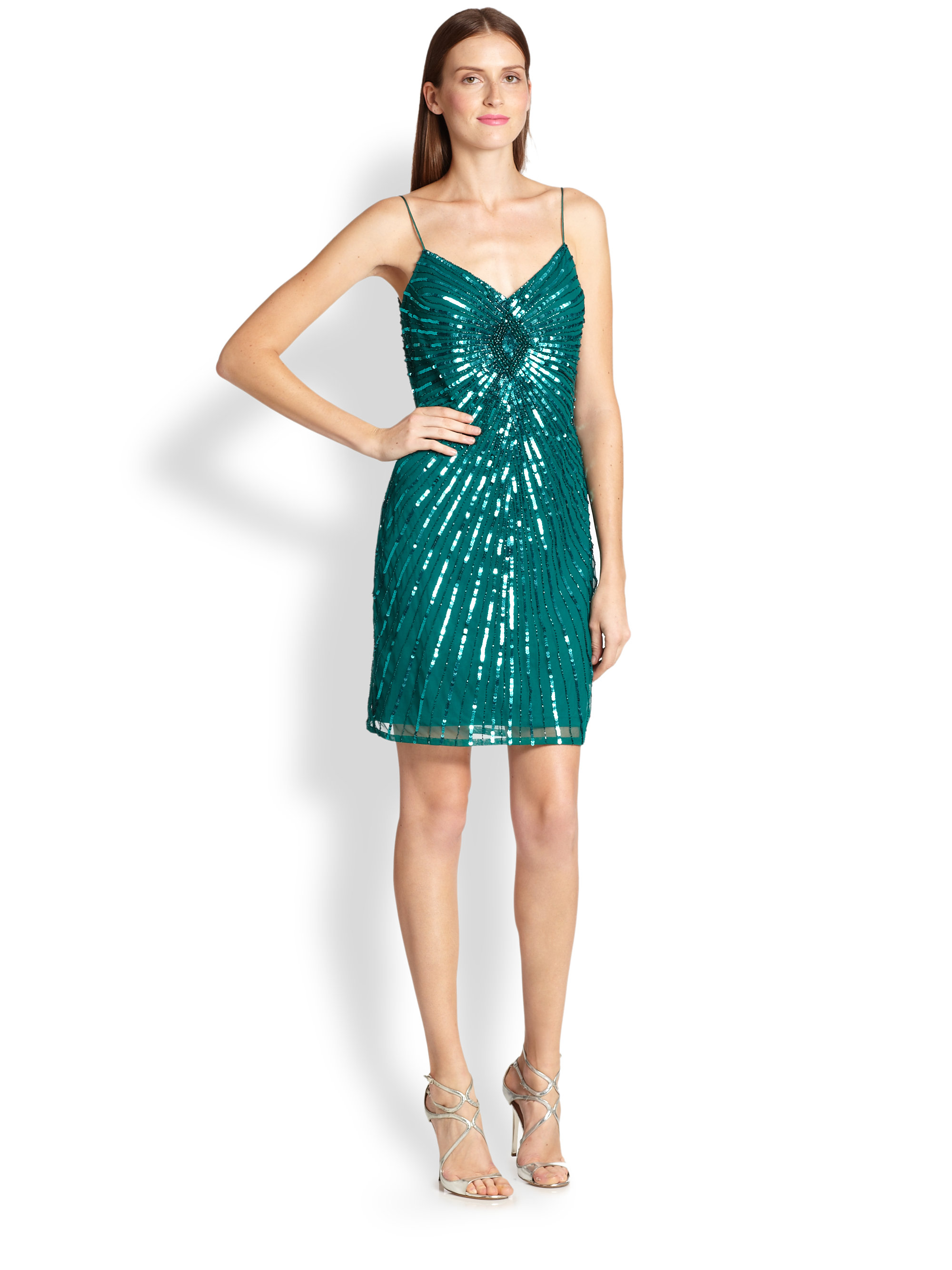Aidan mattox sequined sheath dress in green lyst gallery ombrellifo Choice Image