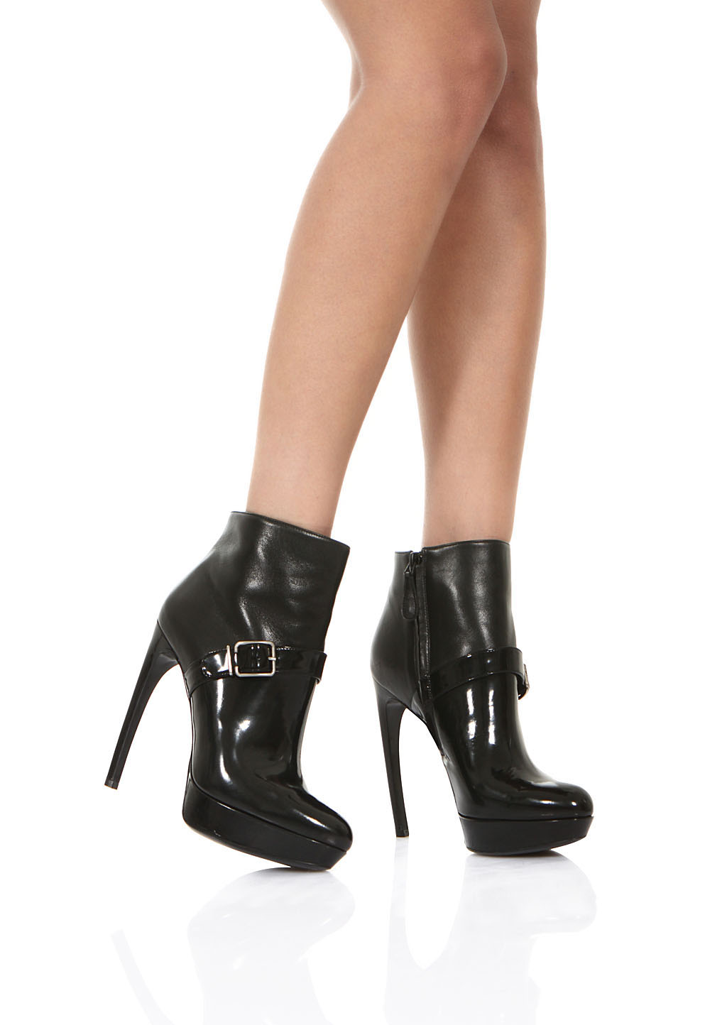 christian louboutin patent leather ankle boots
