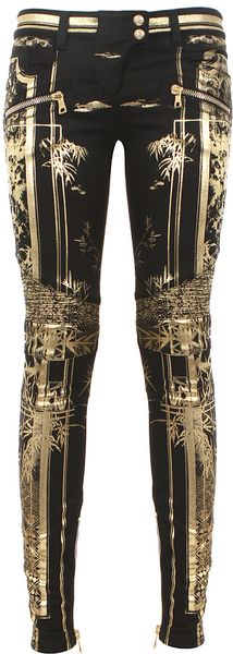 Balmain Black and Goldtone Printed Biker Jeans - Lyst