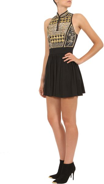 Balmain Black and Gold Sleeveless Pleated Dress - Lyst