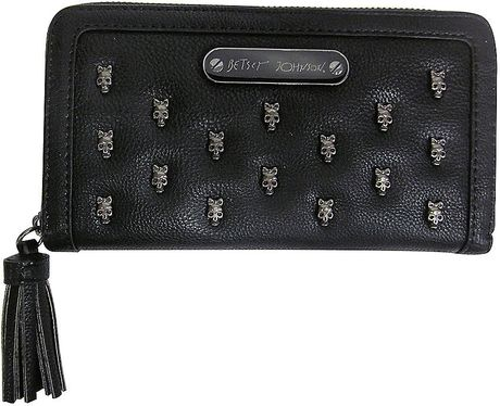 Betsey Johnson Skull Squad Faux Leather Wallet In Black Lyst