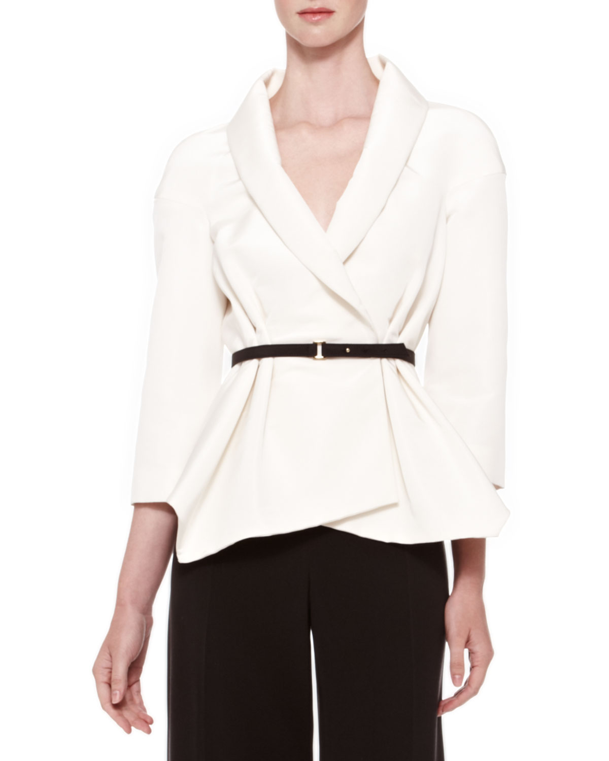 Carolina herrera Belted Silk Wrap Blouse in White | Lyst