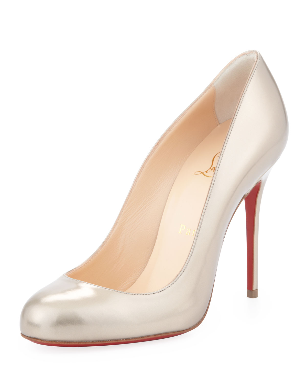 christian louboutin round-toe pumps Red satin | cosmetics digital ...