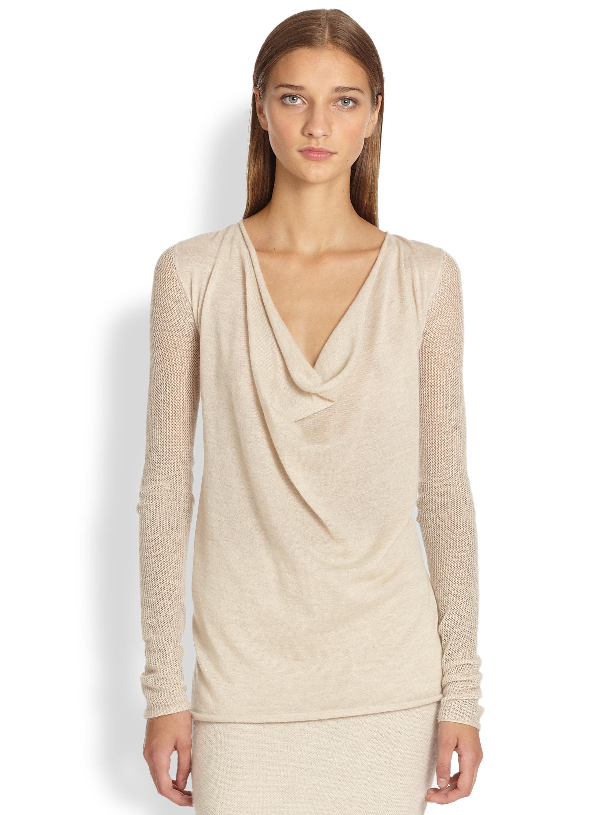 Donna karan new york cashmere cowl neck top in beige for Donna karan new york