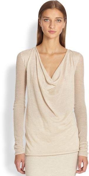 Donna Karan New York Cashmere Cowl Neck Top - Lyst