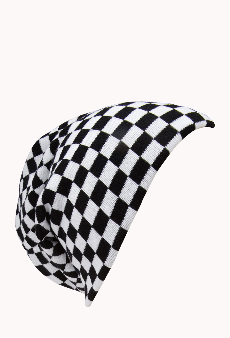 6c46df2a024 Lyst - Forever 21 Streetchic Checkered Beanie in Black