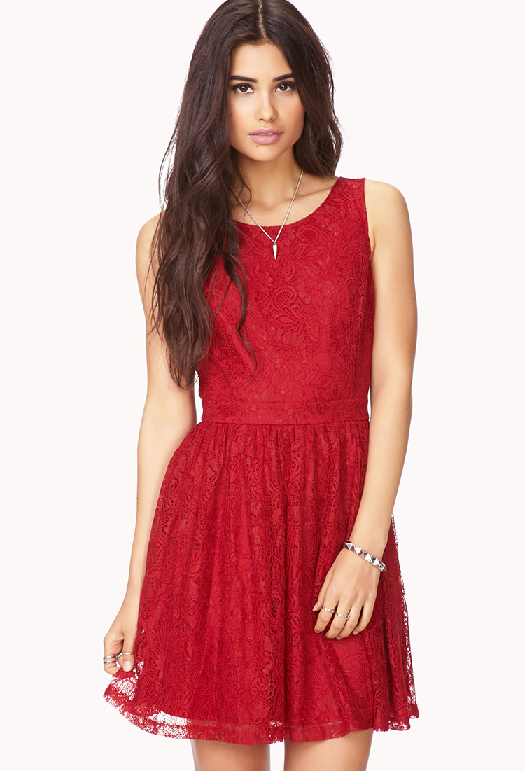 Forever 21 Poetic Crochet Lace Dress In Red Lyst