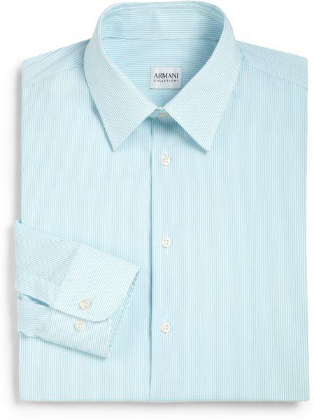 Giorgio Armani Striped Cotton Dress Shirt In Blue For Men
