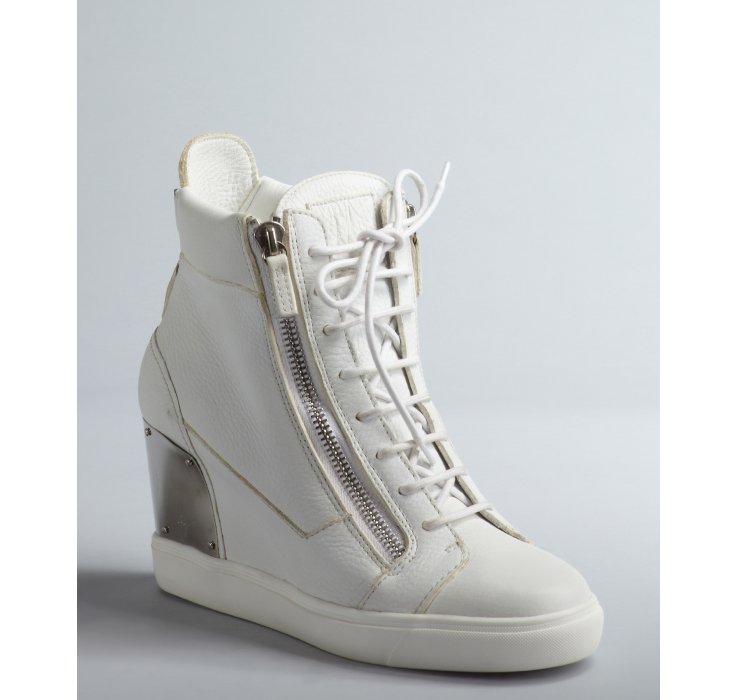 giuseppe zanotti white wedge sneakers
