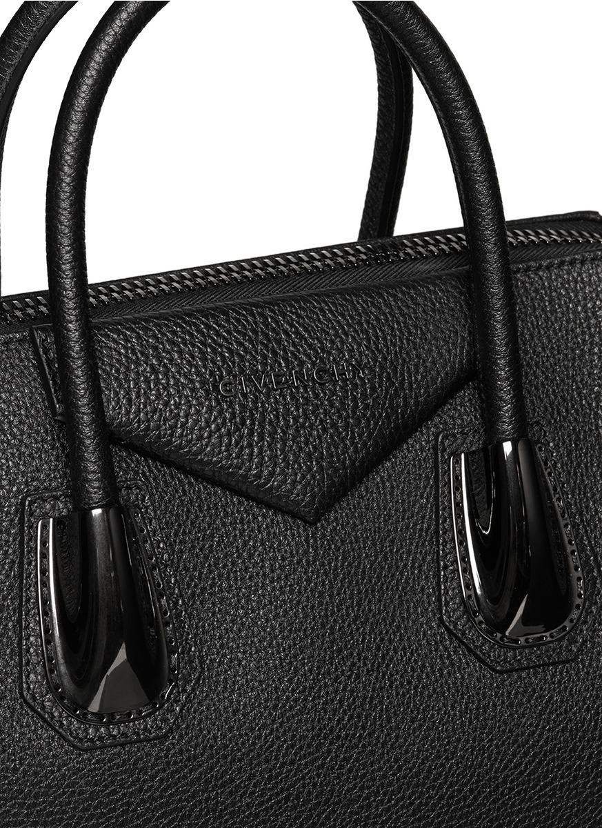 6d0a268887 Lyst - Givenchy Antigona Medium Gunmetal Hardware Leather Bag in Black