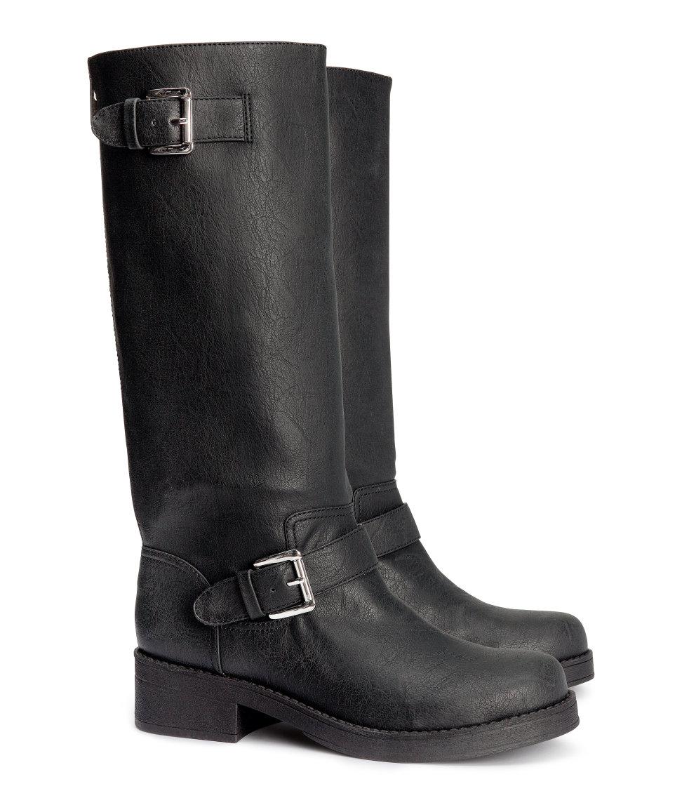 H Amp M Biker Boots In Black Lyst