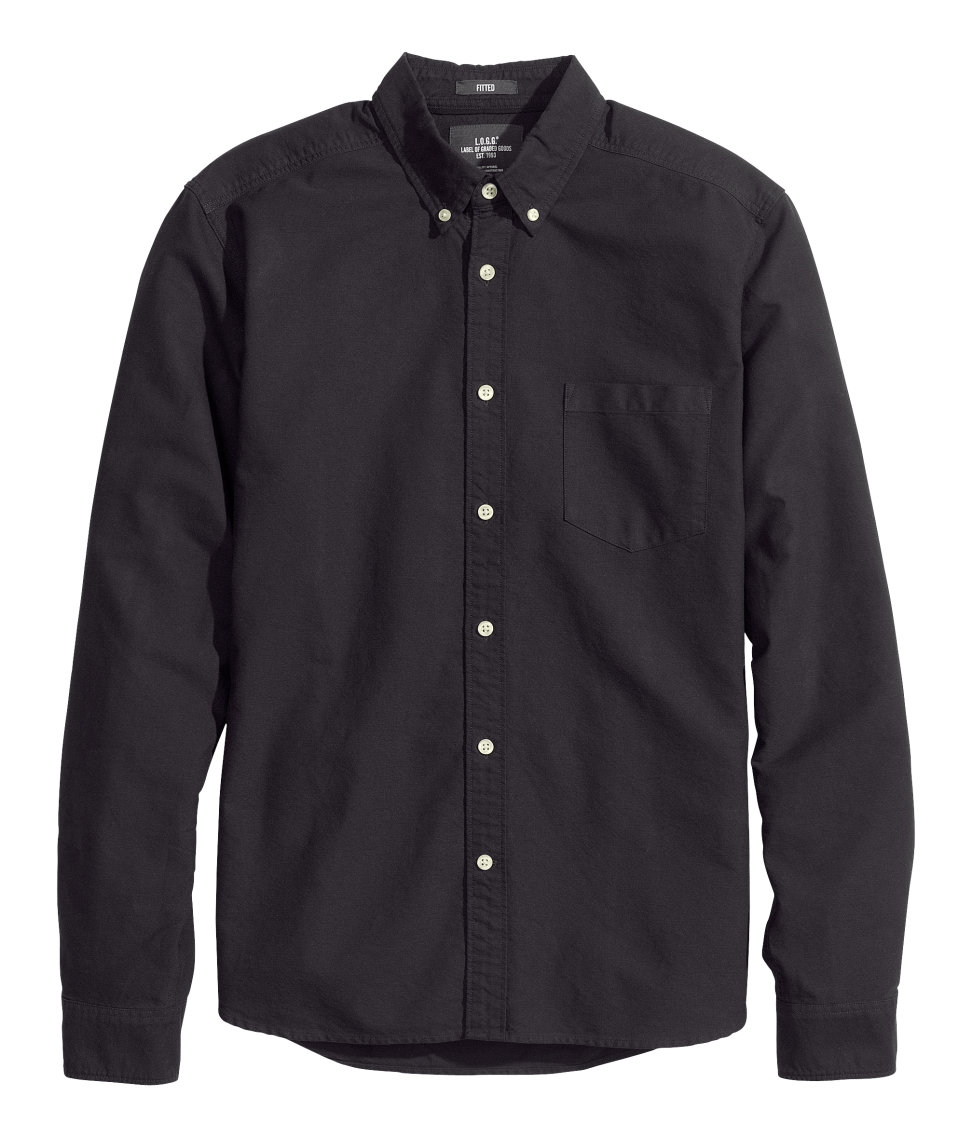 H&m Oxford Shirt in Black for Men | Lyst