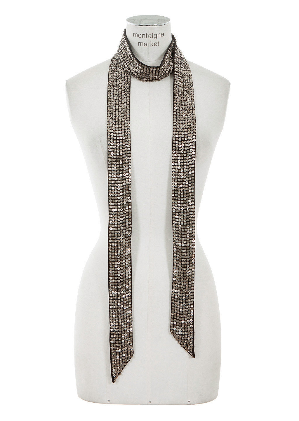 marant black silk pulse scarf embroidered with