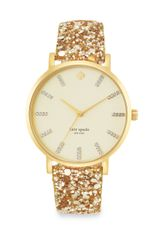 Kate Spade Goldtone Glitter Interchangeable Strap Watch - Lyst