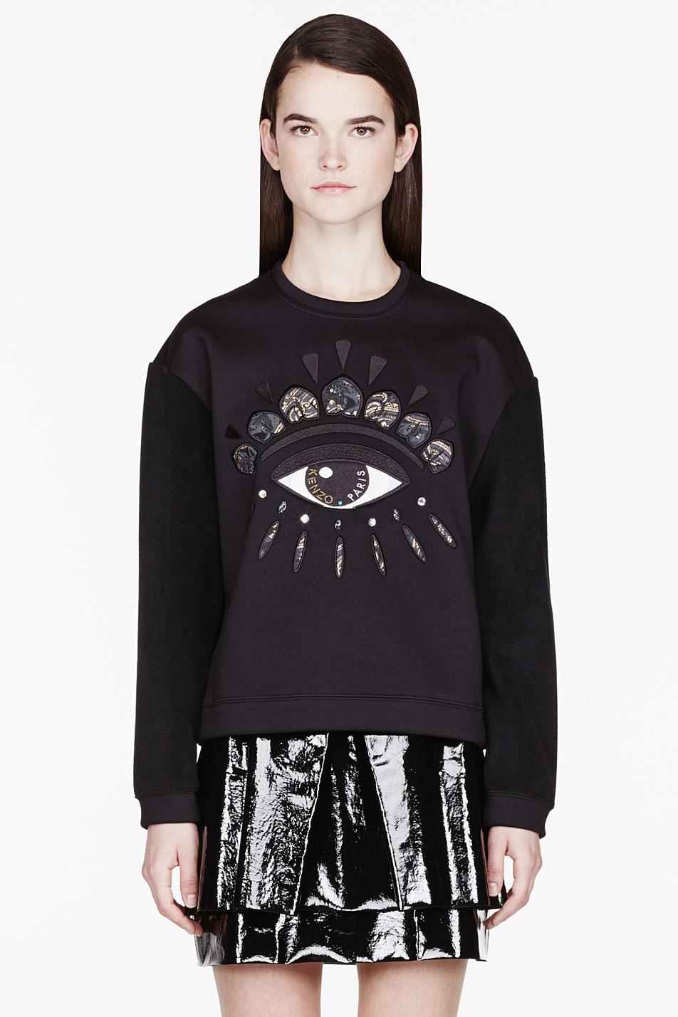 3aaf5a214ee KENZO Black Fleece and Neoprene Eye Embroidered Sweatshirt in Black ...
