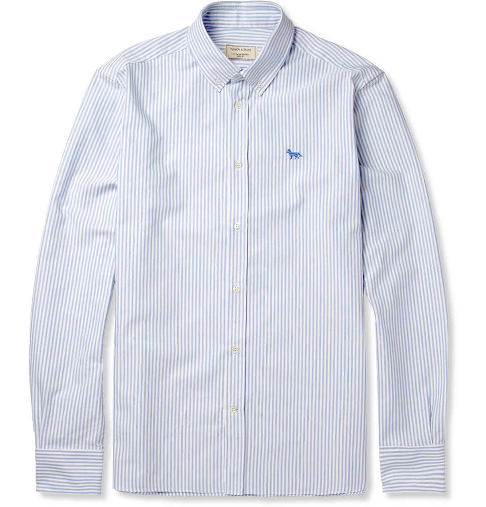 Maison kitsun slim fit striped button down collar oxford for White button down collar oxford shirt