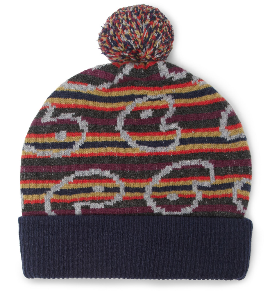 7dff0bcb367 Lyst - Marc By Marc Jacobs Patterned Merino Wool Beanie Bobble Hat ...