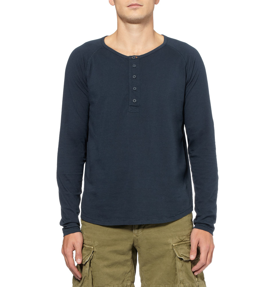 0bdb79d9 Nudie Jeans Fairtrade Organic Cottonjersey Henley Tshirt in Blue for ...