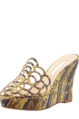 Oscar de la Renta Cork Scalloped Wedge Sandal Green - Lyst