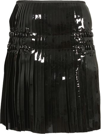 Paco Rabanne Black Pleated Patent Leather Skirt - Lyst