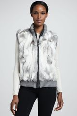 Pologeorgis Knittrim Rabbit Fur Vest Black - Lyst