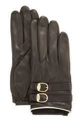 Portolano Twobuckle Short Leather Gloves - Lyst
