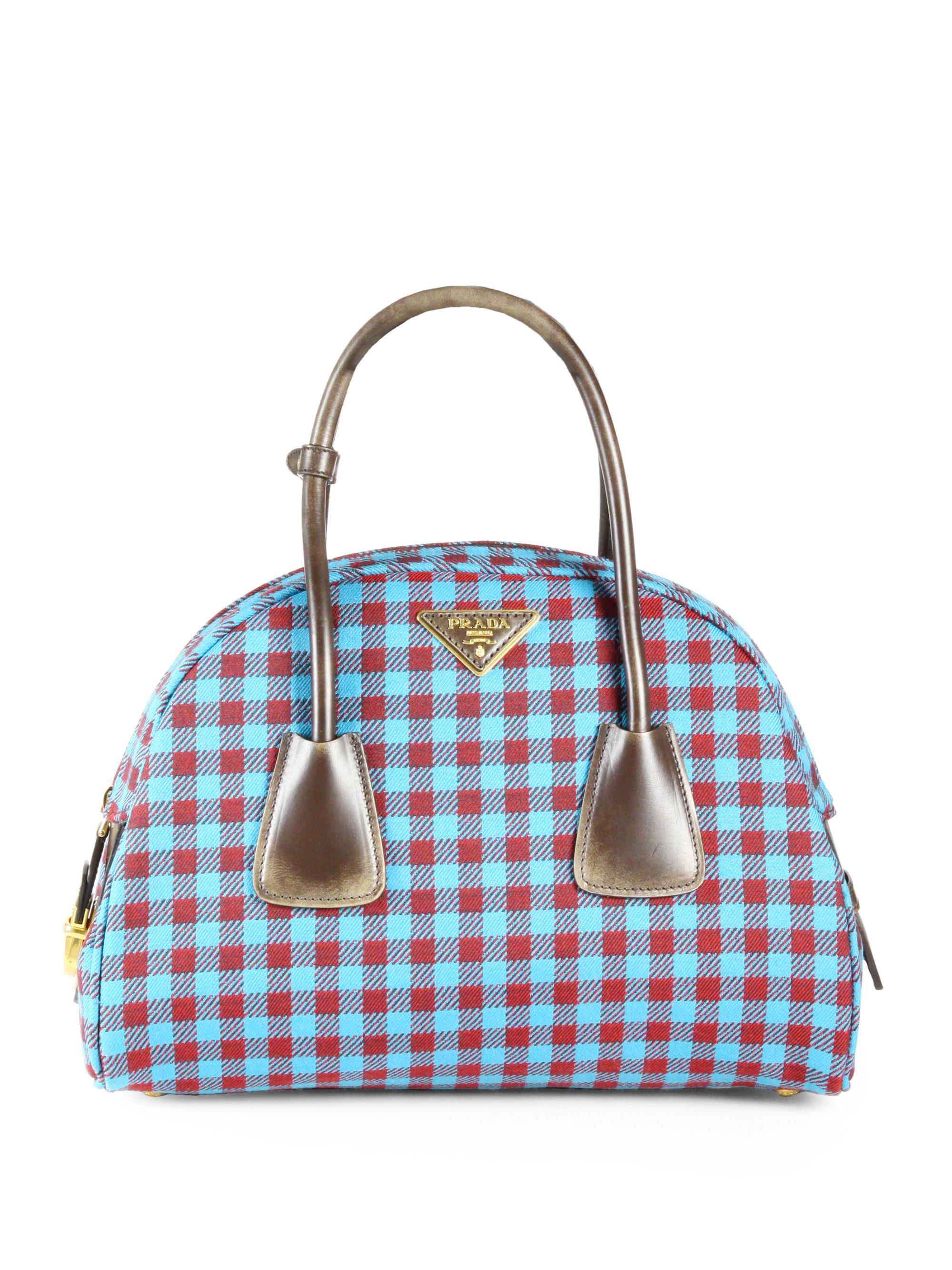 Lyst - Prada Jacquard Check Small Bowler Bag in Blue ecfcfd73e3dcc