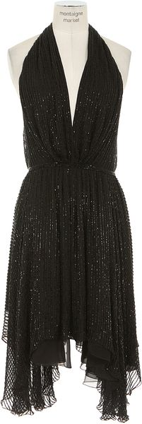 Saint Laurent Black Silk Backless Dress with Beads Embroideries - Lyst