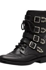 Saint Laurent Studded Strapped Motorcycle Boot In Black - Lyst