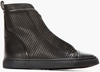 Silent By Damir Doma Black Stitched Leather Solta Sneakers - Lyst