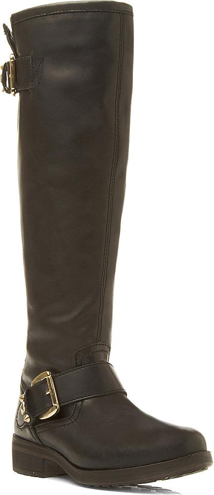 steve madden barton leather boots in black black