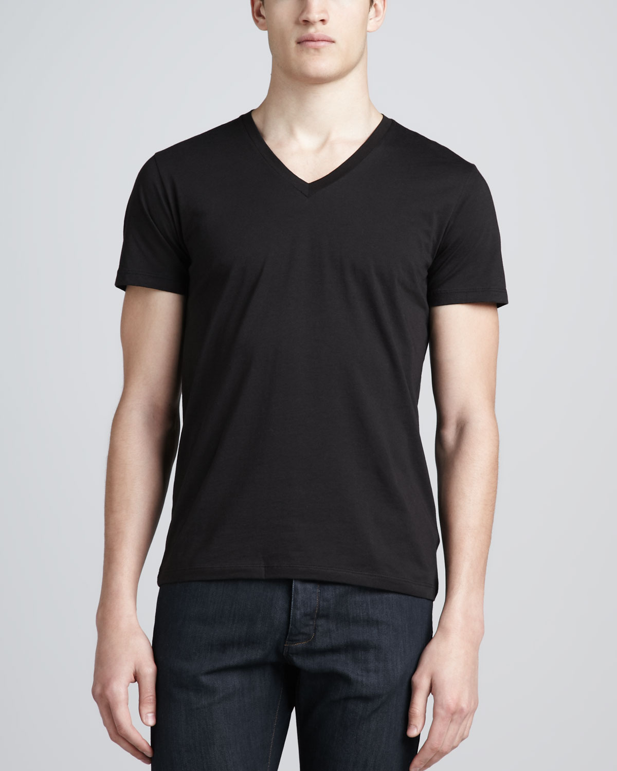 Theory v neck silk cotton t shirt in black for men lyst for Cotton silk tee shirts