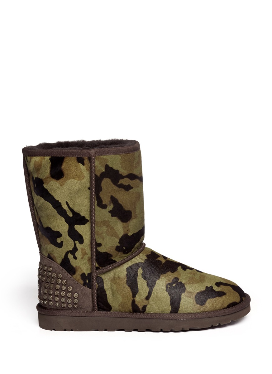 Lyst Ugg Rowland Camouflage Calf Hair Short Boots In Green