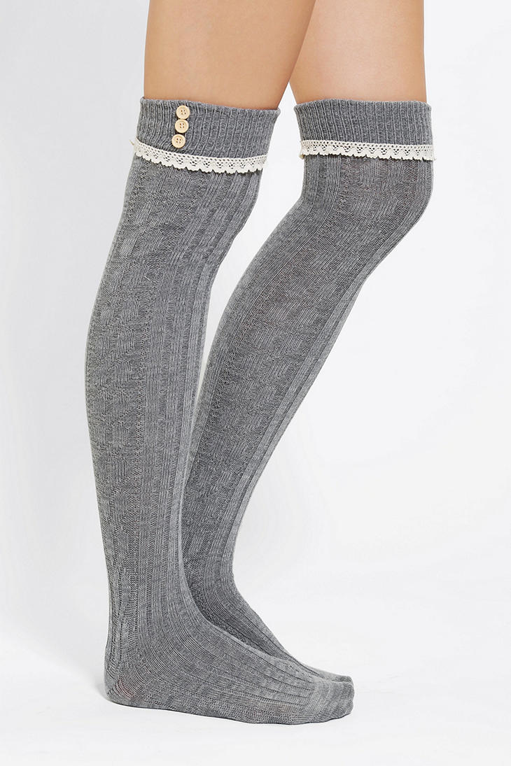 urban outfitters lace trim button cuff over the knee sock. Black Bedroom Furniture Sets. Home Design Ideas