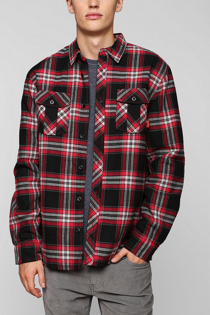 Lyst - Urban outfitters Vans Black Label Skateboard Flannel Button Down Shirt in Red for Men