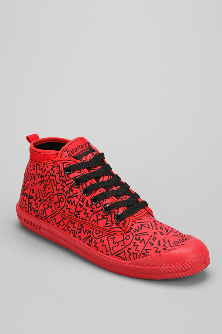 71e1245746c6 Lyst - Urban Outfitters Volley Hightop Print Leap Sneaker in Red for Men