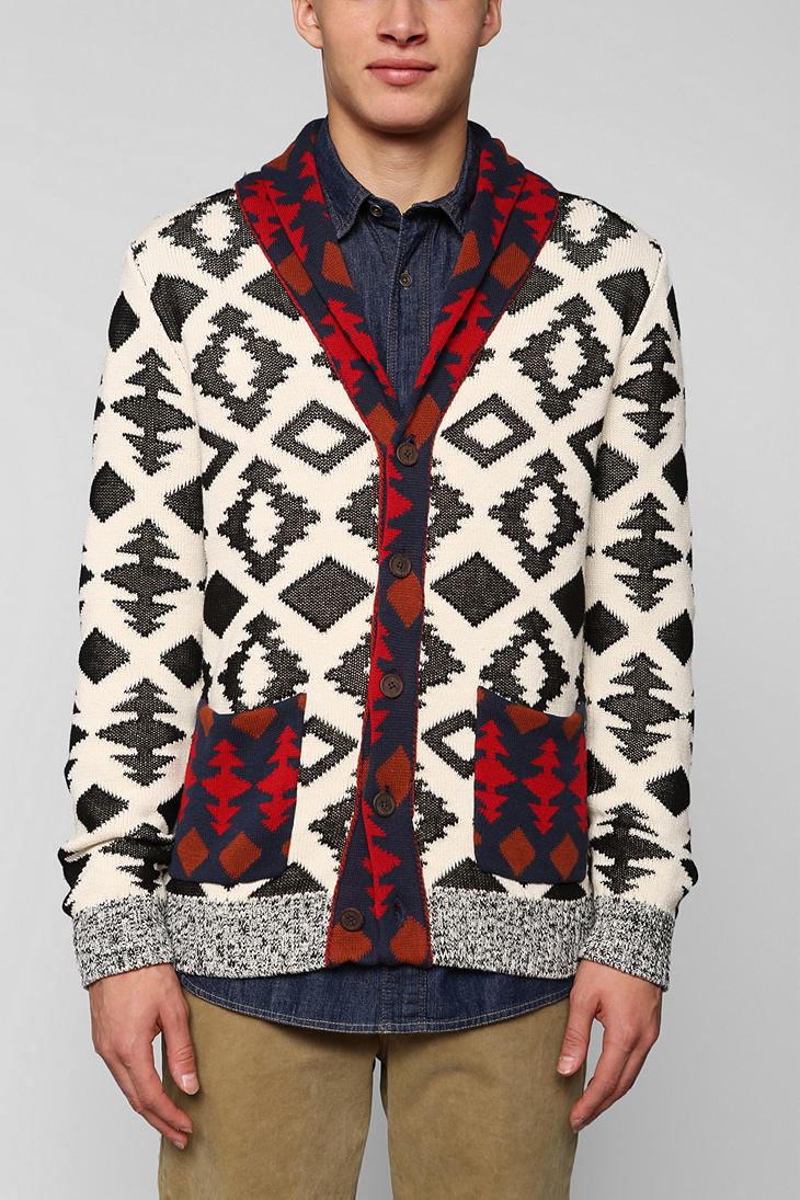 Urban outfitters Koto Patterned Shawl Cardigan in White for Men | Lyst