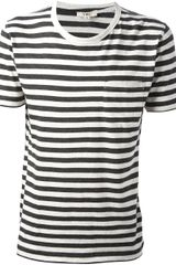 YMC Striped Crew Neck Pocket Tshirt - Lyst
