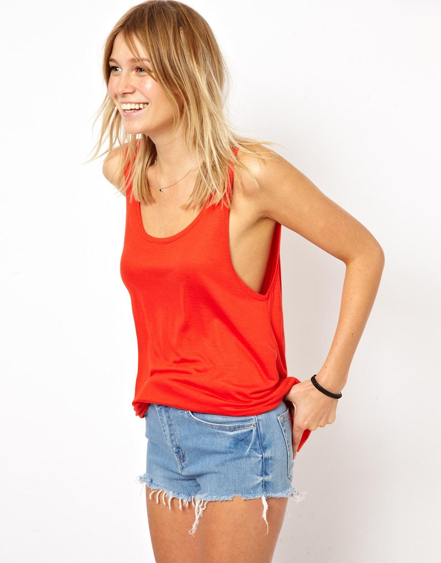 54fea7b1 ASOS Vest With Low Scoop Back in Red - Lyst