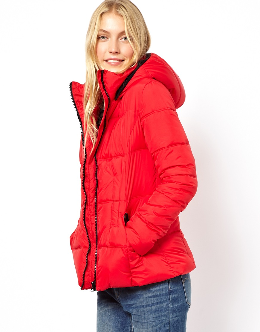 Asos Quilted Jacket With Belt in Red | Lyst