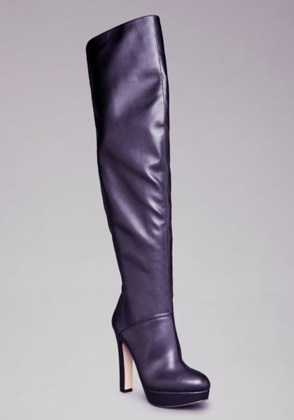 bebe amira stretch leather boots in gray lyst