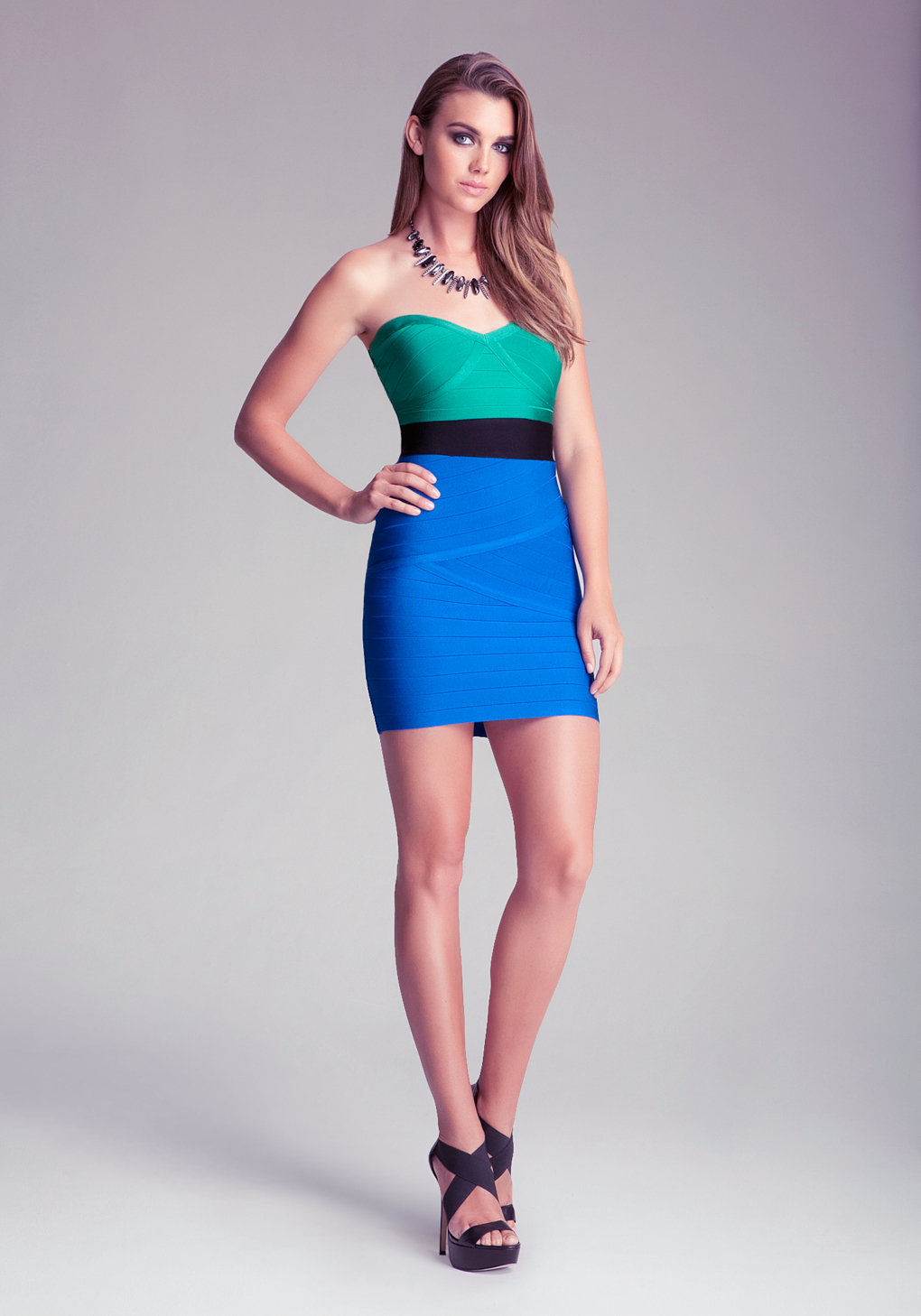 Lyst Bebe Strapless Bandage Colorblock Dress In Green