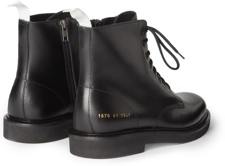 Common Projects Leather Combat Boots In Black For Men Lyst