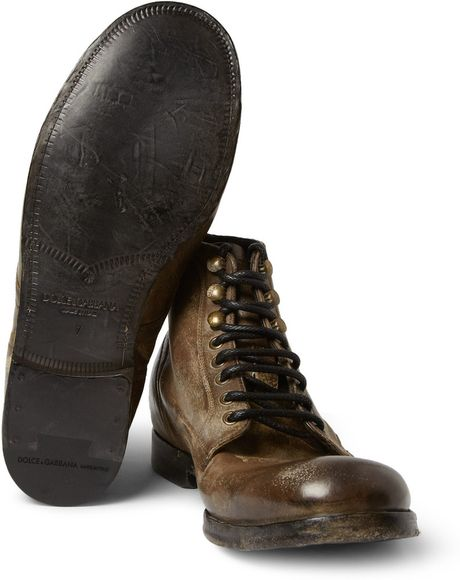 dolce gabbana distressedleather laceup boots in brown