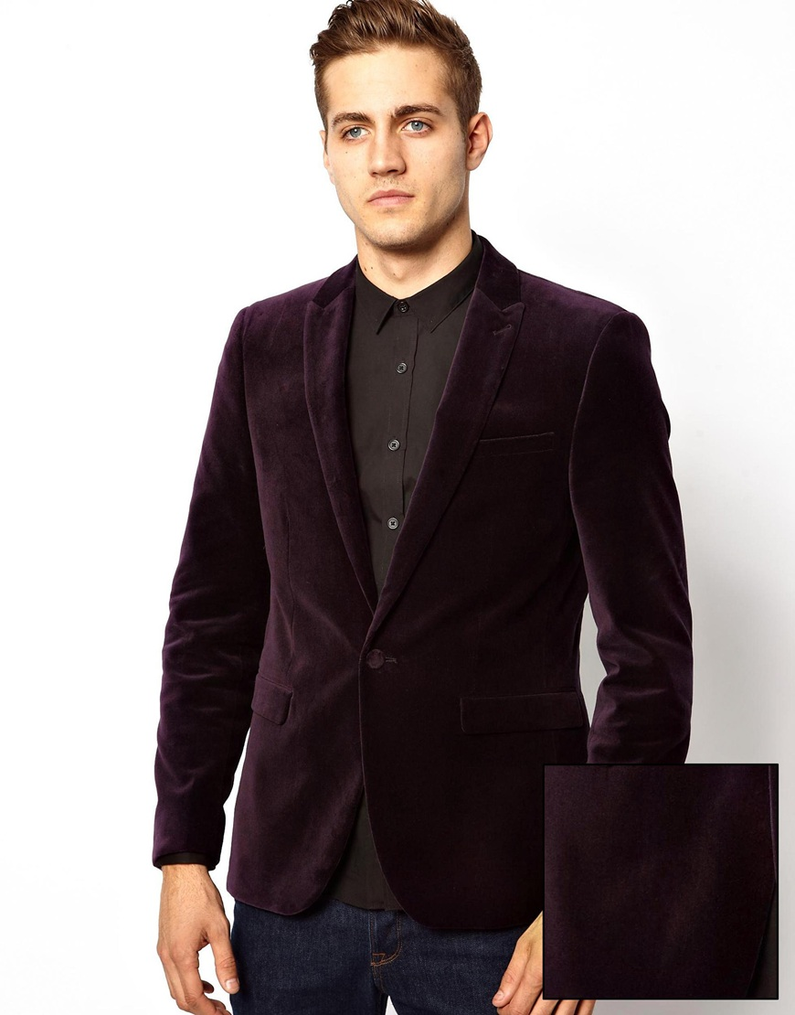 john zack asos slim fit blazer in velvet in purple for men lyst. Black Bedroom Furniture Sets. Home Design Ideas